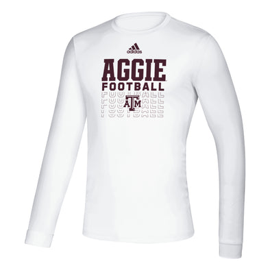 Texas A&M Adidas White Long Sleeve Creator Football Tee