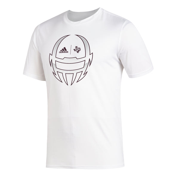 Texas A&M Adidas Football Helmet White Creator Tee