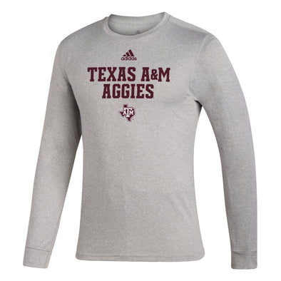 Texas A&M Aggies Adidas Gray Long Sleeve Creator Tee