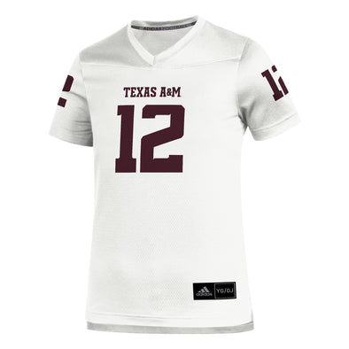 Texas A&M Adidas 2020 Youth White Replica Football Jersey