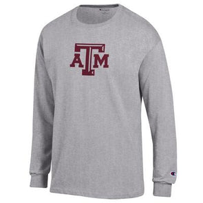 Texas A&M Champion Grey Long Sleeve Jersey Tee with ATM
