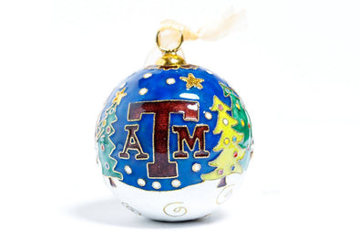 Texas A&M Snowmen Scene Cloisonné Christmas Ornament