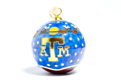 Texas A&M Santa Flying Over Logo Cloisonné Christmas Ornament