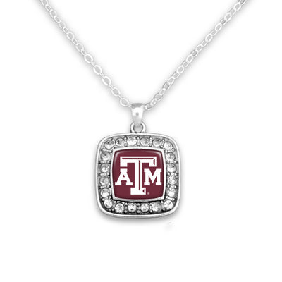 Texas A&M Maroon/White Square Necklace