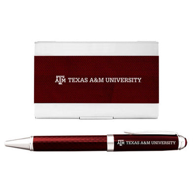 Texas A&M Carbon Fiber Card Holder with Pen Combo