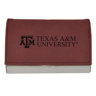 TEXAS A&M VELOUR ACCENTED BUSINESS CARD HOLDER