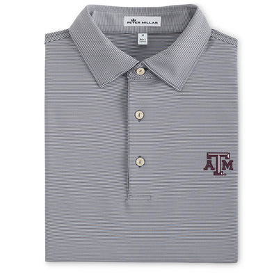Texas A&M Peter Millar Graduate Iron Stripe Stretch Jersey Polo