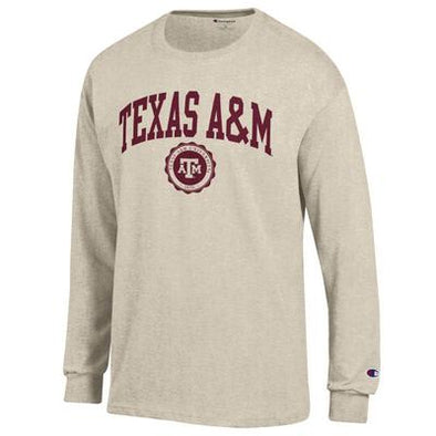 Texas A&M Champion Long Sleeve Jersey with Seal T Shirt - Oatmeal