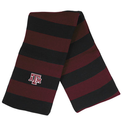 Texas A&M Logofit Niagara Rugby Striped Scarf - Maroon/Blk