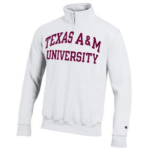 Texas A&M Champion Powerblend Pocketless Quarter Zip - White