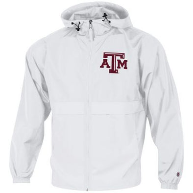 Texas A&M Champion Full Zip Packable Jacket - White
