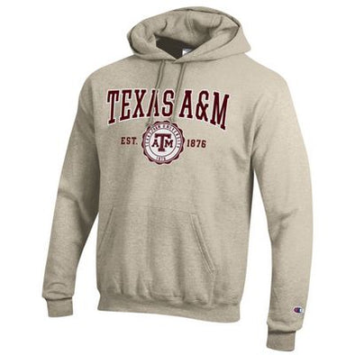 Texas A&M Champion Powerblend Hood with Seal - Oatmeal