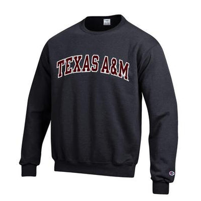 Texas A&M Champion Powerblend Crew - Black