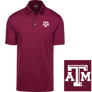 Texas A&M Oxford America Deloach Short Sleeve Stripe Jersey Polo