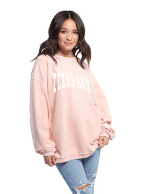 Texas A&M Chicka D Corded Crewneck Sweatshirt - Pink