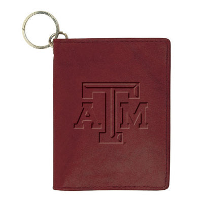 TEXAS A&M AGGIES MAROON CAROLINA SEWN LEATHER ID HOLDER
