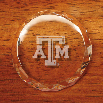 Texas A&M Crystal Slant Top Faceted Paperweight