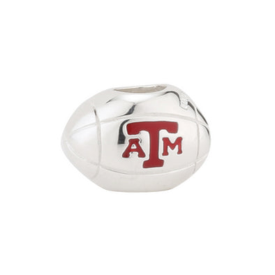 Texas A&M Silver Football Bead