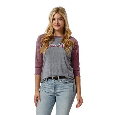 Texas A&M League Women's 3/4 Sleeve Baseball Reclaim Short Sleeve T-Shirt