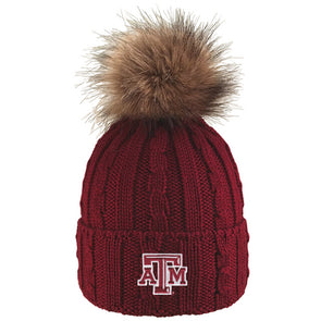 Texas A&M Alps Cuff Hat with Faux Fur Pom