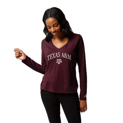 Texas A&M League ReSpin V-Neck Long Sleeve T-Shirt