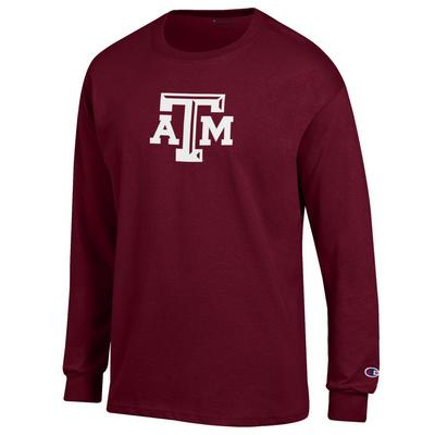 Texas A&M Champion Maroon Long Sleeve Jersey Tee with ATM