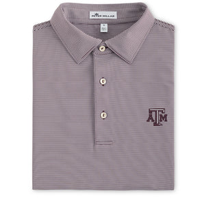 Texas A&M Peter Millar College Maroon Stripe Stretch Jersey Polo