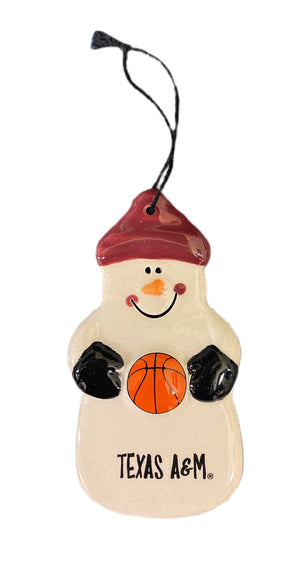 Texas A&M Snowman Ornament with Basketball