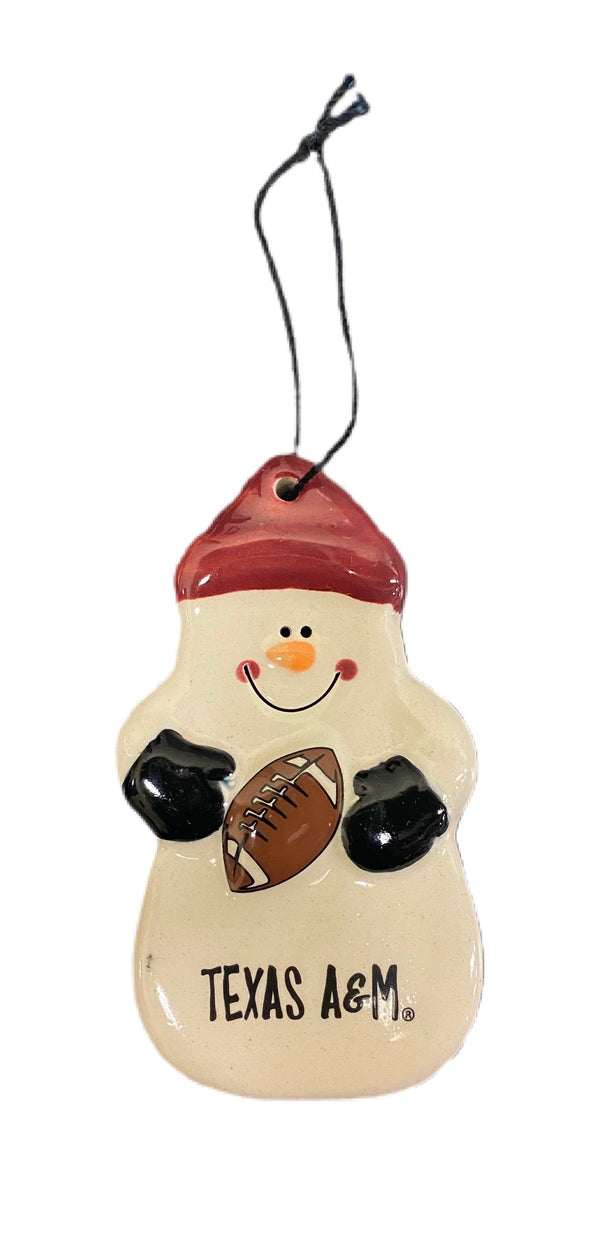Texas A&M Snowman Ornament with Football