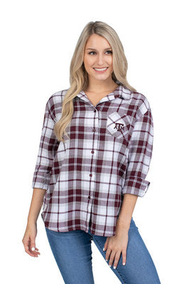 Texas A&M UG Apparel Women's Boyfriend Plaid Top