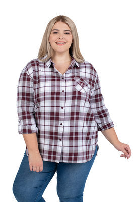 Texas A&M UG Apparel Women's Plus Size Boyfriend Plaid Top