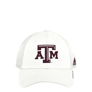Texas A&M Adidas Men's White Coach Mesh Structured Adjustable Hat