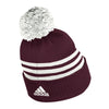 Texas A&M Adidas 3 Stripe Cuffed Pom Beanie