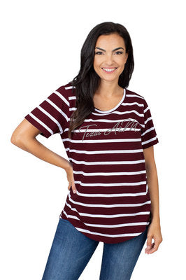 Texas A&M UG Apparel Women's Striped Short Sleeve Tee