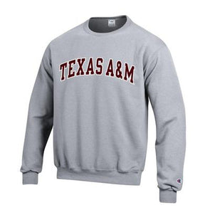 Texas A&M Champion Powerblend Crew - Grey