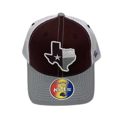 Youth Zephyr Hat with Lonestar- Maroon/White