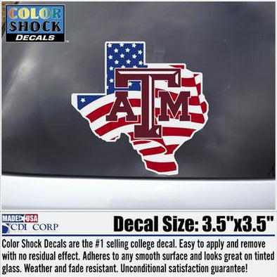 Texas A&M America Flag Lonestar Decal