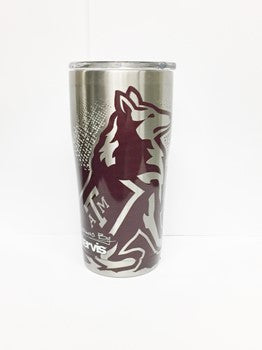Texas A&M Maroon/Silver Reveille Themed Stainless Tervis Tumbler