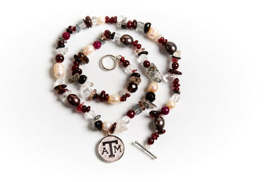Texas A&M Mixed Precious Stones and Pearl Necklace by Kitty Keller