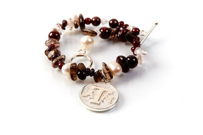 Texas A&M Mixed Precious Stones and Pearl Bracelet by Kitty Keller