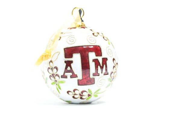Texas A&M Maroon Bonnets Cloisonné Christmas Ornament
