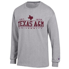 Texas A&M Champion Grey Long Sleeve Jersey Tee