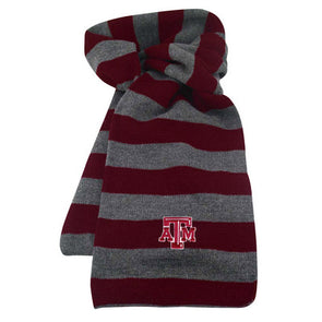 Texas A&M Logofit Niagara Rugby Striped Scarf - Maroon/Grey