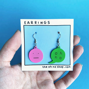 """OH NO"" ENAMEL EARRINGS"