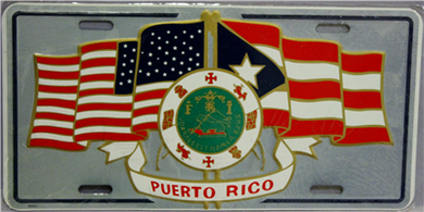 Puerto Rico & USA with Seal License Plate