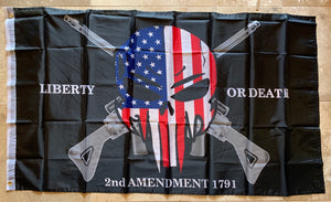 Liberty Or Death 2nd Amendment 1791 Punisher Flag 3'X5'' Rough Tex® 68D Nylon