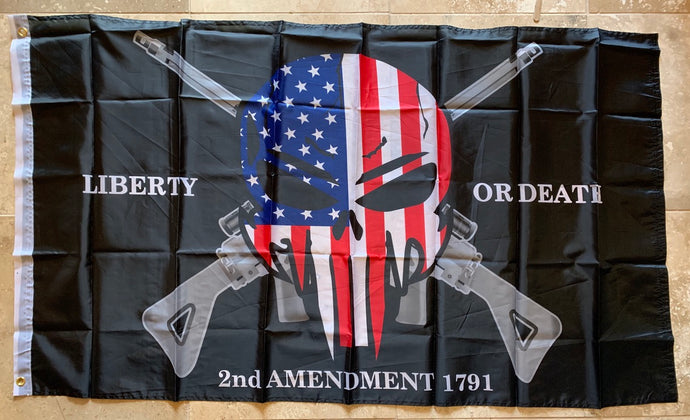 Liberty Or Death 2nd Amendment 1791 Punisher Flag 3'X5' Rough Tex® 68D Nylon