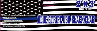 12 2'x3' BLUE STRIPE USA BLACK (AMERICAN POLICE MEMORIAL FLAG) 100D FLAGS BY THE DOZEN WHOLESALE PER DESIGN!