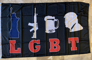 *TEMPORARILY OUT OF STOCK* Liberty Guns Beer Trump Color LGBT Flag 100D Rough Tex ® 3x5