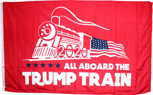 All Aboard The Trump Train Red 4'X6' Flag Rough Tex ® 100D